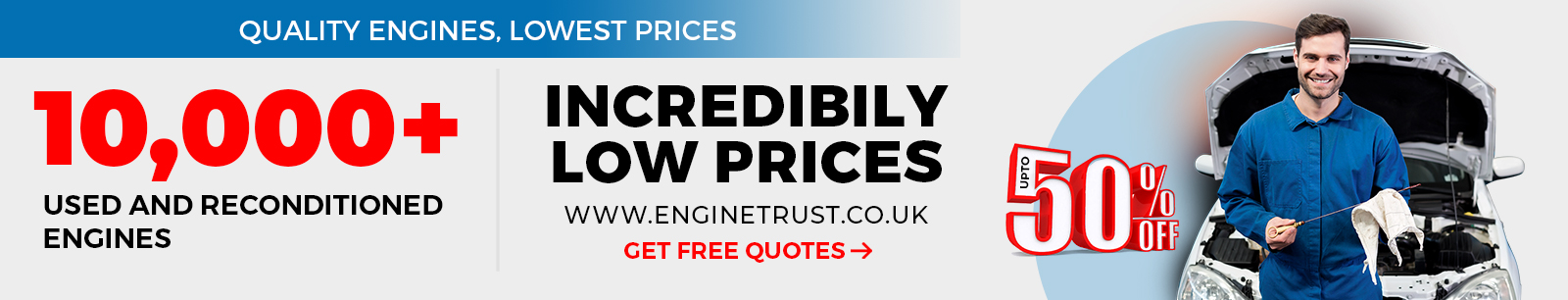 Offers upto 50% on used & reconditioned engines